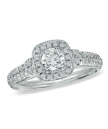 Solitaire With Accents Ring Round Cut CZ 14k White Gold Finish 925 Pure ... - $61.99