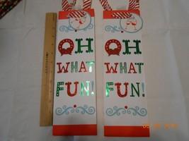New lot 2 pretty glitter Hallmark Christmas wine liquor gift bags Oh Wha... - $5.45