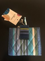 New Nwt Vera Bradley Silk Collection Blue Caribbean Stripe Bi Fold Snap Wallet - $19.99