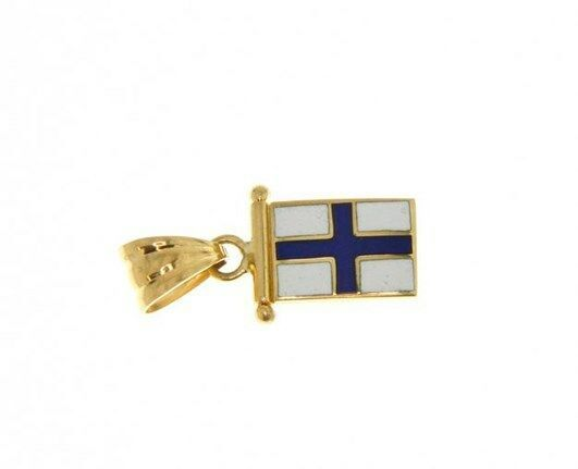 18K YELLOW GOLD NAUTICAL GLAZED FLAG LETTER X PENDANT CHARM MEDAL ENAMEL ITALY
