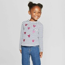 Cat & JacK Toddler Girls' Striped Hearts Long Sleeve T-Shirt Size 3T NWT - $4.54