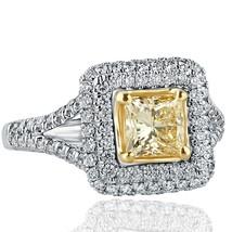 1.76 Ct Princess Cut Yellow Diamond Engagement Ring 18k White Gold Split Shank - $3,315.51