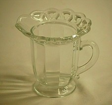 Lace Edge Clear by Imperial Glass Ohio Footed Milk Creamer Paneled Sides - $17.81