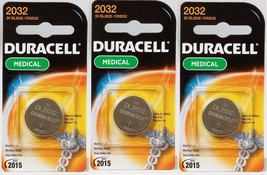"3 NEW! ""DURACELL"" 2032 Medical Security Fitness Watch  3 Volt Lithium Battery - $13.64"