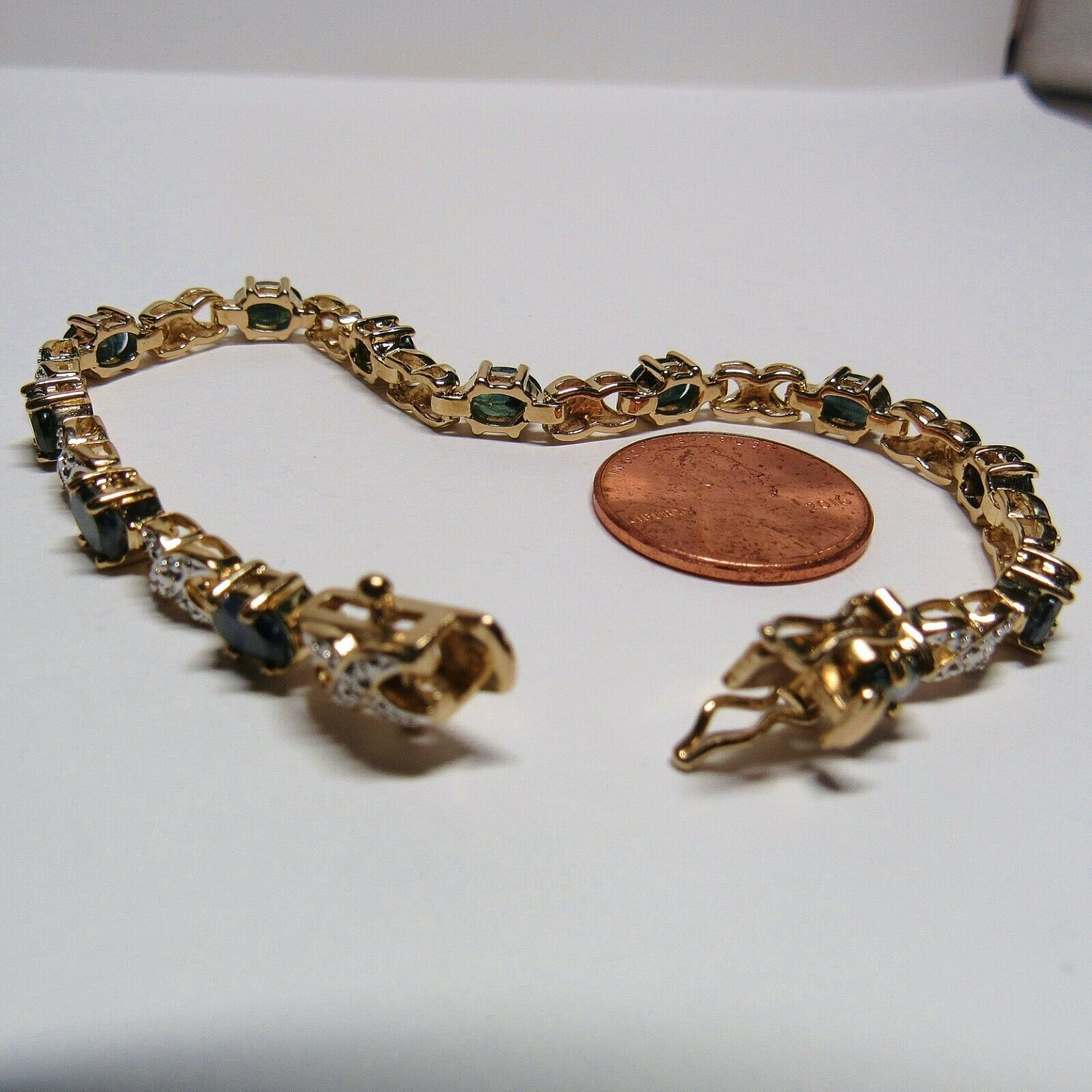 "HSN Technibond Gold Sterling Silver Sapphire Diamond Gemstone Tennis 7"" Bracelet image 11"