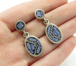 MEXICO 925 Silver - Vintage Charoite Inlay Pattern Dangle Earrings - E7702 - $42.54