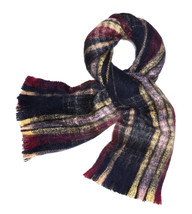 Tory Burch Womens Navy Blue Brushed Shetland Plaid Merino Wool Long Scar... - €150,99 EUR