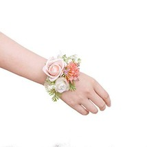 Ling's moment Wrist Corsage Bracelet, Set of 6 Prom Corsage Coral Pink f... - $29.78