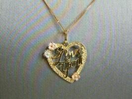 Womens Vintage Estate 14k Yellow Gold Heart Pendant & Necklace 2.1g E2932 - $133.65
