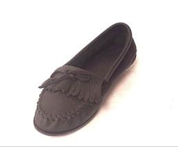 Women's Minnetonka Black Leather Moccasin Size 10 - $69.25