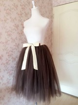 Brown Midi Tulle Skirt Ballerina Tulle Tutu Skirt Plus Size High Waisted image 2