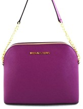 AUTHENTIC NEW NWT MICHAEL KORS LEATHER CINDY PURPLE POMEGRANATE CROSSBOD... - $85.00