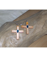 American Made!  Wood Earrings, Handmade Wooden Cross Dangle Earrings wit... - $17.95
