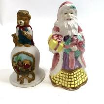 Vtg Christmas Bell Lot of 2 Santa Figurine Teddy Bear Hand bell  - $9.89