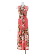 IMAN Global Chic Knockout Maxi Dress Coral Rose Floral XS Avg NEW 602-396 - $47.50