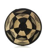 African Basket Butterfly Design Hand Woven Black Raffia Natural Grass w ... - $56.93