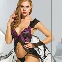 Women Sexy Lingerie  Babydoll Dress Open Front Sleepwear Set with GString Set image 1