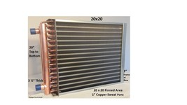 """20x20 Water to Air Heat Exchanger~~1"""" Copper Ports w/ EZ Install Front F... - $144.93"""
