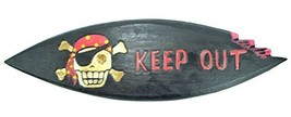 "LG 20 inch Hand Carved Wood Pirate Skull Cross Bone ""KEEP OUT"" Sign Plaq... - $12.81"