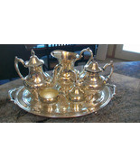 ONEIDA 7 PIECE SILVERPLATED SERVING SET! Coffee Pot, Tea Pot, Sugar, Cre... - $467.77