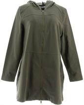 Denim & Co Comfy Knit Denim Zip Front Jacket True Olive M NEW A349710 - $33.64