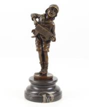 Antique Home Decor Bronze Sculpture shows child with accordion signed * Free Air - $199.00