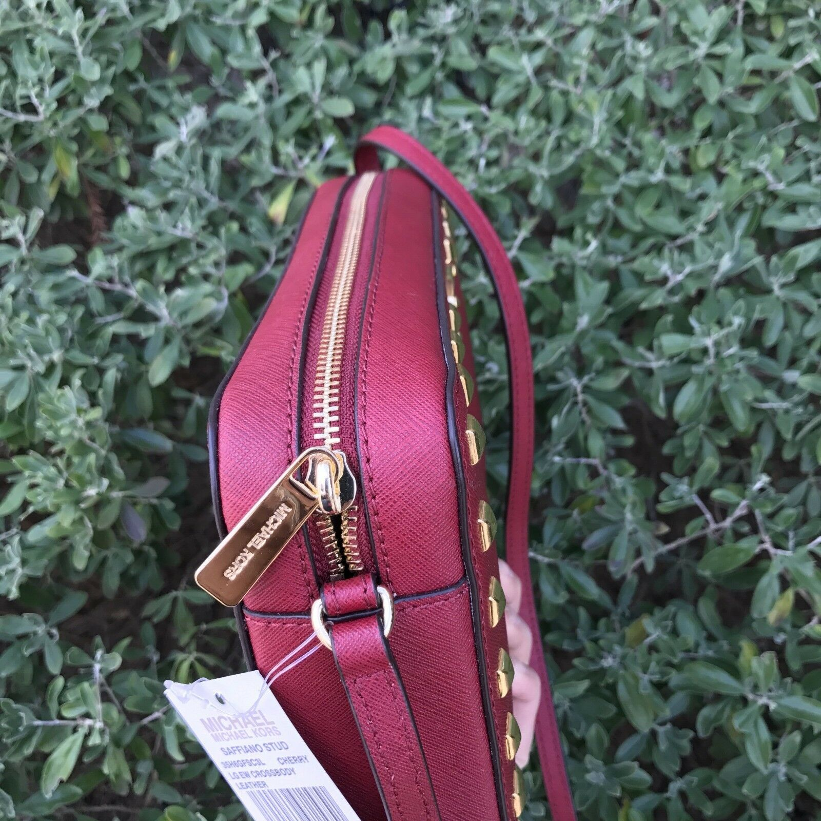 NEW Michael Kors MK Jet Set EW Large Saffiano Leather Stud Crossbody Bag Cherry