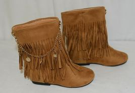 Styluxe Scream Tan Suede Girls 10 Fringe Boots With Chain Plus 3 Charms image 3