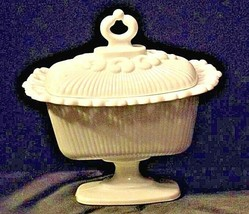 Vintage white footed Trinket /Candy Dish with lid AA19-1424