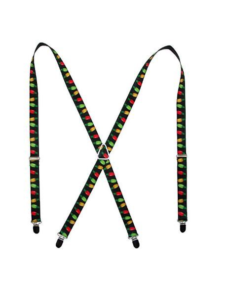 Holiday Christmas Lights Black / Multi Color Logo Suspenders
