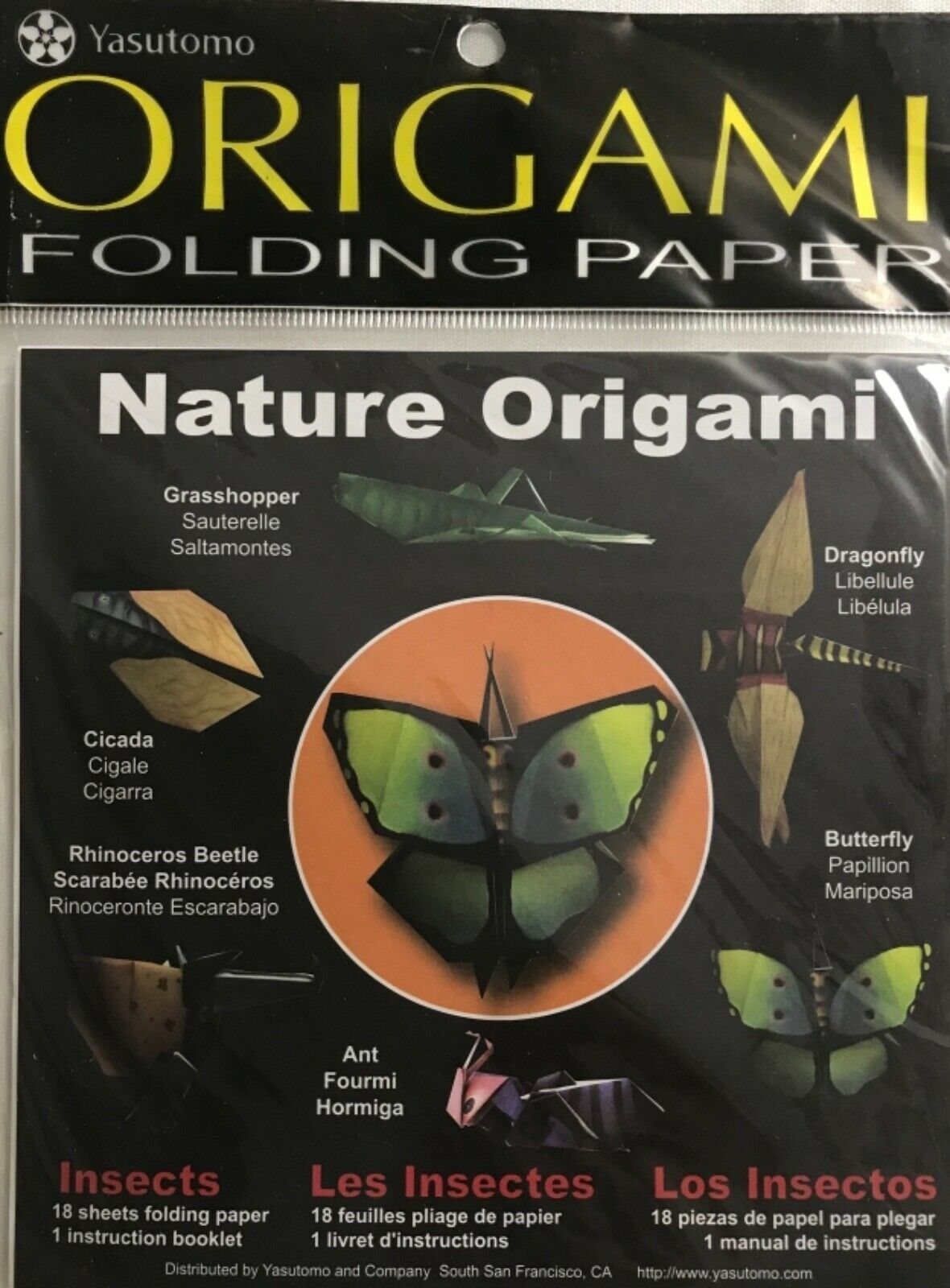 Primary image for Yasutomo Nature Origami Insects Folding Paper 15 cm x 15 cm, 18 Sheets