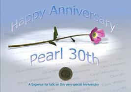 Carte pour Anniversaire de Mariage 6 Pence pour Chance 30ème Perle - $11.71