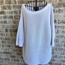 Woolrich Womens Sz L Open Weave Sweater Short Sleeves Cream Color 100% C... - $39.99