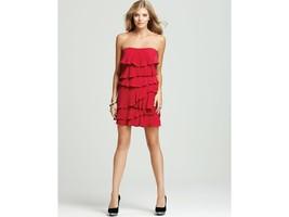 BCBG Maxazria Ginger Ruffled Tiered Strapless Dress Sz 0 Red - $148.00