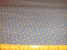 1/2 Yd Andover Fabric Quilt Study Gold Suns Dots on Blue - $5.09
