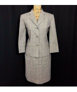 Talbots 6 Med White Black Plaid Suit Blazer Jacket Pencil Skirt Wool Bl ... - $39.95