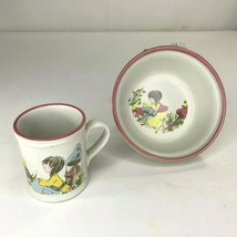 Denby Childs Bowl Cup Set Dream Weavers 2 Piece England Vintage Disconti... - $24.14