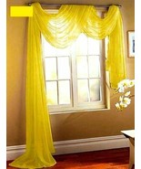 """SHEER VOILE 216"""" LONG WINDOW SCARF BRIGHT YELLOW - $12.86"""