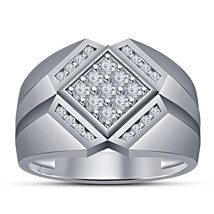 Diamond Pinky Ring Mens Round Wide Square Pave Band Solid 10K White Gold... - $94.99