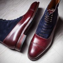 Handmade Men's Burgundy Maroon & Blue High Ankle Lace Up Leather & Suede Boots image 3