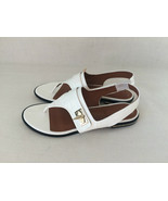 GIVENCHY WHITE Leather Slingback Thong Shark-Tooth Flat Sandal Shoes. Si... - $188.10