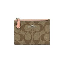 NWT COACH Mini Skinny ID Case Signature Leather Wallet Pocket Khaki Pink... - $33.66