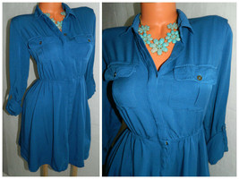 ANTHROPOLOGIE Dakota MAEVE Medium 8 10 SHIRT DRESS Career BLUE Tab Slv. ... - $24.05