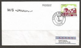 1984 Paquebot Cover Liberia stamp used in Green Bay, Wisconsin (Nov 1) - $5.00
