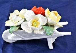 Fine Bone China Staffordshire Porcelain Floral White Wheelbarrow  - $28.77