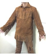 Men's New Native American Mountain Man Brown Buckskin Rendezvous Shirt F... - $123.85+