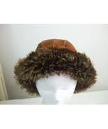 Wilsons Leather Pelle Studio Women's Cloche Hat Brown Suede Faux Fur Bri... - $24.70