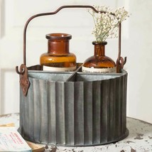 Farmhouse CORRUGATED DIVIDED CADDY With HANDLE Country Rustic Primitive ... - $50.99
