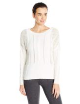 XL Lole Women's Taraji Sweater Boat-neck Mesh Pointelle White