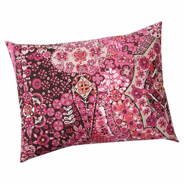 Pottery Barn Lucia Mosaic Tile Standard Pillow Sham 26x20 Pink Magenta Brown NIP - $23.75